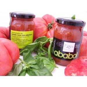 Mermelada de Tomate rosa con Albahaca - Caja de 6 tarros de 215 grs